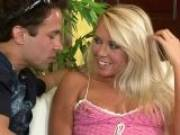 Ultra sexy blonde pornstar hottie stripping clothes for a horny dude on the couch