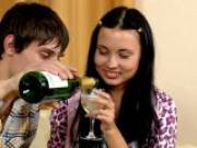 Kinky brunette teen babe Juliett drinking champagne with her young boyfriend